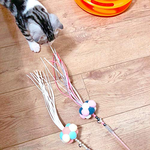Funny Cat Handmade Feather Tassel Pole Pet Toy Fairy Funny Stick Toy 35cm long