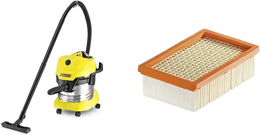 1.348-151.0 Aspirateur Eau et poussi/ères /& Filtre Nouveau Syst/ème Plat Pliss/é pour MV4 MV5 Karcher WD 4 Premium 200 x 125 x 60 mm MV6