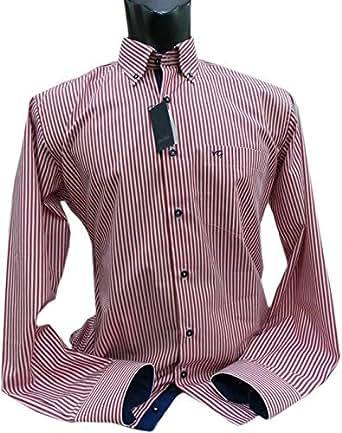 VanGils Red & White Shirt Neck Shirts For Men