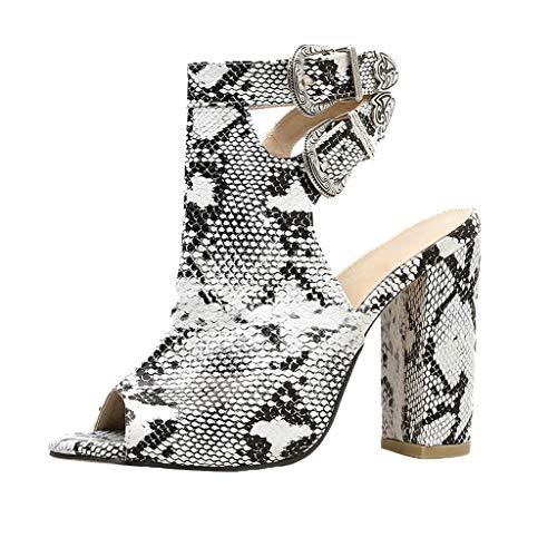 - Tsmile Women Serpentine Sandals Fashion Gladiator High Heels Strap Buckle Roman Hollow Non-Slip Pumps Shoes White