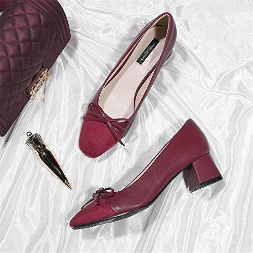 punta di Farfalla con sposa da scarpe tacco 34 con da donna quadrata rosso col scarpe Qiqi alto scarpe scarpe da donna Xue a damigella femminile vino Scarpette spessore EqfYgnz