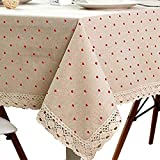 LINENLUX Cotton and Hemp, Machine Washable, Dinner, Summer & Picnic Tablecloth, (Pink,35.4x35.4In) …