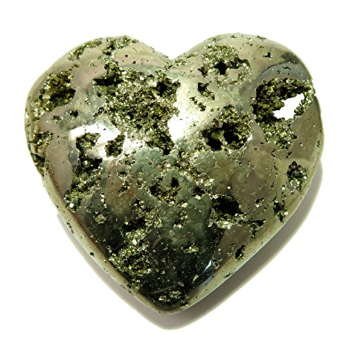 Pyrite Heart 17 Sparkling Chunky Fools Gold Gemstone (2.7 Inches)