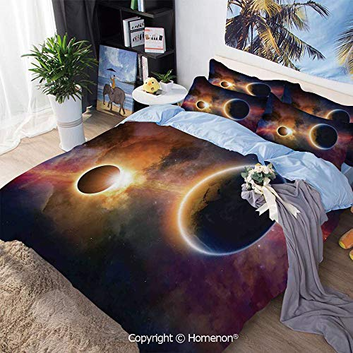 3 Piece Bedding Set,Planet in Milky Way Dark Nebula Gas Cloud Celestial Solar Eclipse Galaxy Theme,Twin Size,Include 1 Quilt Cover+2 Pillow case,Multi