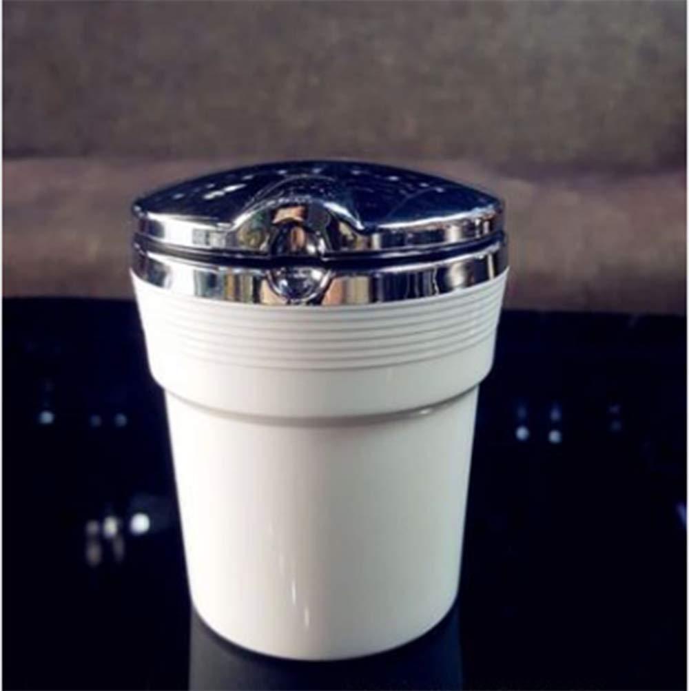 White XUNTING LED Light Car Smokeless Stainless Ashtray