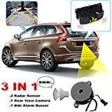 AUDEW 3 IN 1 Video Parking Sensor 170 Degree Wide Viewing Angle Car Reverse Backup Rear View Camera with 2 Radar Detector Sensors BiBi Alarm Indicator