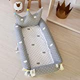 Baby Bassinet for Bed,Crown Style 100% Cotton Portable Multi-Functional Baby Lounger for Newborn,Breathable & Hypoallergenic Co-Sleeping Baby Crib for Bedroom/Travel Grey Crown