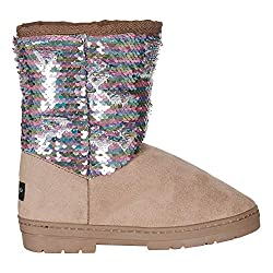 Microsuede Winter Boots with Reversible Sequins