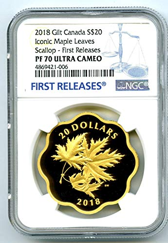 2018 CA CANADA MASTERS CLUB ICONIC MAPLE LEAVES SILVER WITH GILT GOLD PLATE FIRST RELEASES $20 PF70 NGC UCAM