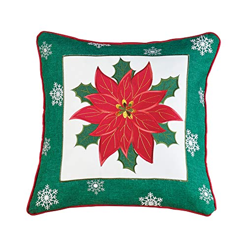 Embroidered Poinsettia with Snowflakes Throw Pillow, Christmas Couch Festive Accent Pillow