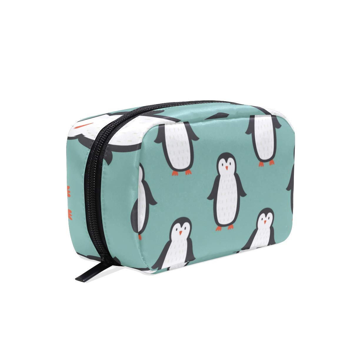 ZZAEO Cute Penguin Makeup Organizer Mini Printing Cosmetics Bag Travel Toiletry Bag Small Beauty Bag Travel Accessories for Teens Girls Women