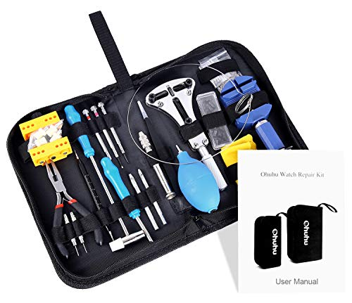 Ohuhu 176 PCS Watch Repair Tool Kit, Professional Watch Case Opener Spring Bar Tool Set, Watch Band Link Pin Tools with Carrying Case from Ohuhu