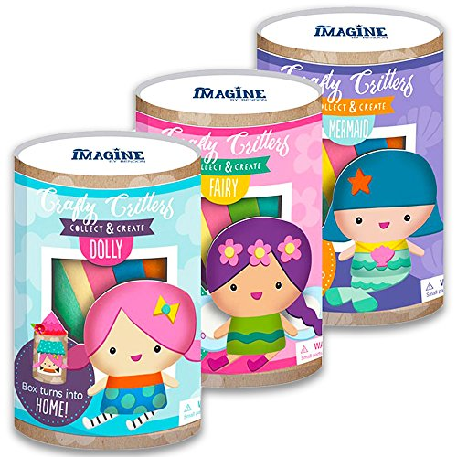 Doll Making Kit for Kids -- Set of 3 DIY Sew-Your-Own Dolls (Childrens Sewing Projects) (Mermaid, Fairy, Dolly) by Sewing Projects For Kids