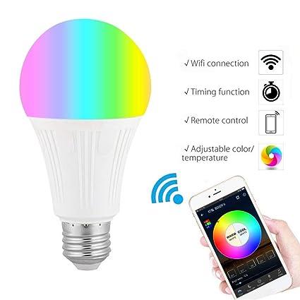 B22//E27 Smart Bulb RGB LED WiFi Light Lamp For Amazon Alexa Echo Remote Control