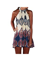 Abody Women Summer Dress Printed Halter Style Sleeveless Mini Dress