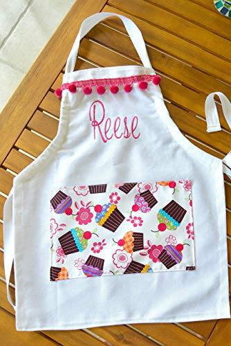 (Girls Personalized Apron Cupcake Pocket Various Sizes.)