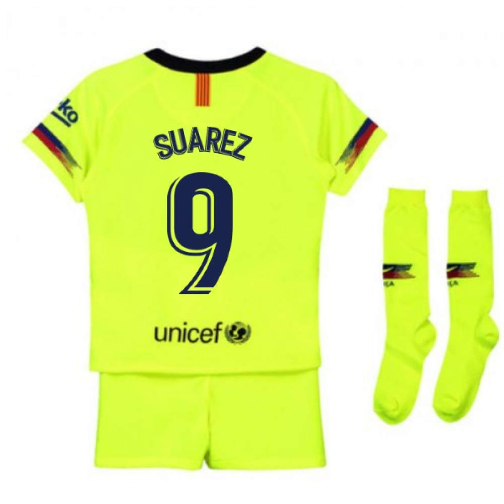 UKSoccershop 2018-2019 Barcelona Away Nike Little Boys Mini Kit (Luis Suarez 9)