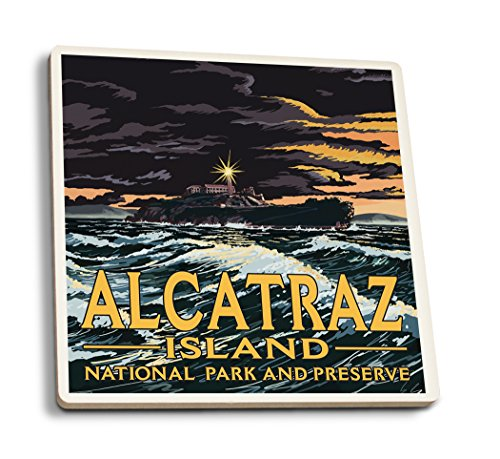 Lantern Press San Francisco, California - Alcatraz Island Night Scene (Set of 4 Ceramic Coasters - Cork-Backed, Absorbent)