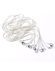 """BODYA 5PCS 24"""" Inch Silver Plated 1.2mm Snake Sparkle Chain Necklace All Sizes"""