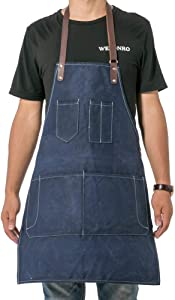 Canvas Kitchen Chef Apron, Adjustable Bib Apron with Pockets, Men & Women Kitchen Apron, Baking Apron, Crafting Apron, Work Shop Apron WQ53 (blue 1)
