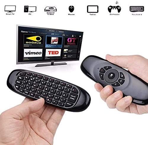 Calvas FELYBY C120 Air Mouse USB Universal Remote Control 2.4Ghz Wireless Mini Keyboard 6-Axis Gyroscope for HTPC IPTV Android TV BOX Color: Deutsch Keyboard