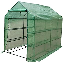 "Sundale Outdoor Gardening Large 4 Tier 16 Shelf Hot Green House with PE Cover and Zipper Door, Waterproof Walk in Plant Green House, UV Protection, Insect Prevention, 97""(L) x 56""(W) x 77.6""(H)"