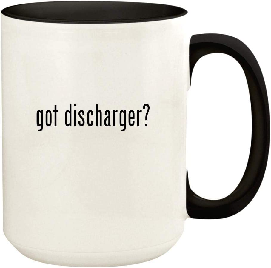got discharger? - 15oz Ceramic Colored Handle and Inside Coffee Mug Cup, Black