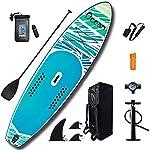 DIMPLEYA-Stand-Up-Paddle-Board-Cappuccio-con-Spatole-Ponte-Regolabile-Sottoveste-Nera-6-6-Pollici-di-Spessore-Fino-a-Tre-Pinne-Supporto-SUP-Paddle-Trattamento-PacchettiBlu320x84x15cm