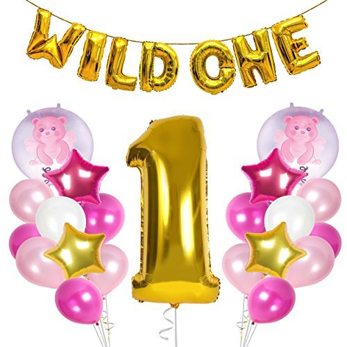Treasures Gifted First Birthday Girl Decorations 1st Gold Pink Party Supplies Wild One Banner 1 Foil Balloon