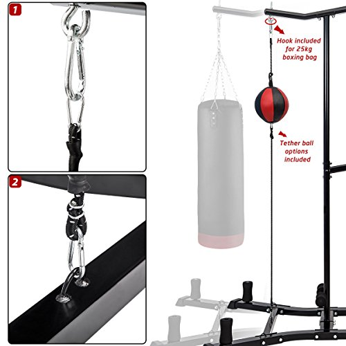 Merax Boxing Power Tower Combo Home Fitness Workout Station, Folding Parallel Bars, Boxing Bag Hook Included (BOXING TOWER COMBO.)