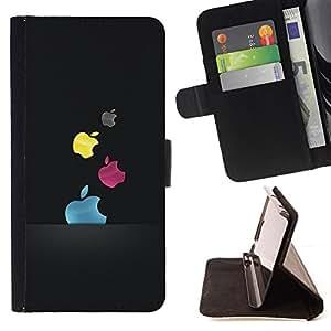 - COLORED APPLES - - Prima caja de la PU billetera de cuero con ranuras para tarjetas, efectivo desmontable correa para l Funny HouseFOR Sony Xperia M2