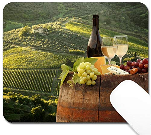 (MSD Mouse Pad with Design - Non-Slip Gaming Mouse Pad - Image ID: 30607785 White Wine with on Vineyard in Chianti Tuscany Italy)