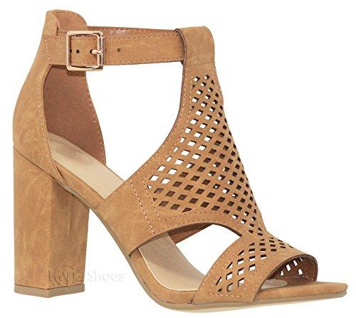MVE Shoes Women's Open Toe Cut Out Chunky Heel Sandal Tan Nbpu*i