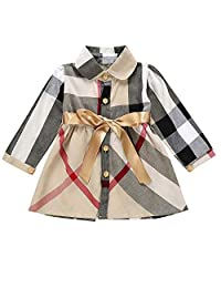 KONFA Teen Toddler Baby Girls Dress Plaid Backless Dresses 1-5 Years Little Princess Long Sleeve Birthday Party Skirt
