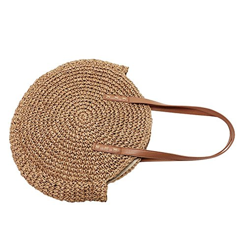 Bag Straw Beach Shoulder Crossbody Bag Travel Round Bag for Purse Camel Woven Outdoor Women Summer Sling Handbag rSrPqdwn0
