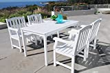 Vifah V1336SET6 Bradley Rectangular Table and Armchair Outdoor Wood Dining Set For Sale