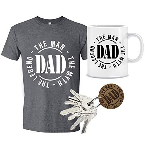 MIMUSELINA Pack Dia del Padre de Camiseta, Taza y Llavero de Madera Dad, con Sello Perfecto para Regalo de papá. (Talla L)