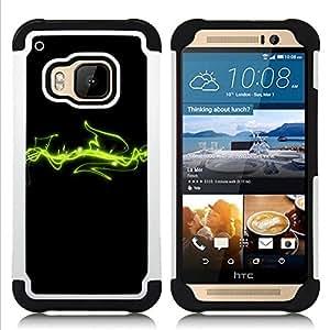 Dragon Case- Dise?¡Ào de doble capa pata de cabra Tuff Impacto Armor h??brido de goma suave de silicona cubierta d FOR HTC ONE M9- ENERGY ART GREEN COSMOS SPACE LINES