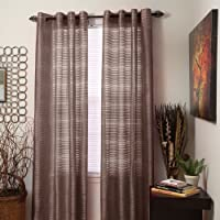 Lavish Home Maggie Grommet Single Curtain Panel, 84-Inch, Chocolate