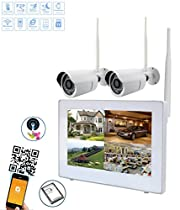 Wireless Security Camera System 720P 9 LCD HD Monitor 4 Channel Capacitive Touch Screen CCTV Kit Built in 1TB Surveillance Hard Drive for Home Outdoor and Indoor Video Monitoring( Probe 2)