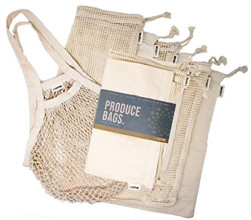 Ecoture Eco Friendly Reusable Produce Bags in Mesh and Muslin for Fruit and Vegetable Storage | Bonus Mesh Grocery Shopping Bag | Lightweight Premium Organic Cotton, Zero-Waste, Washable, See-Through (Eco Friendly Reusable Bags)