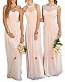 GMAR Women's Chiffon Bridesmaid Dresses Sleeveless Long Prom Evening Gowns