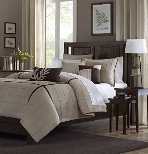 Madison Park Dune Duvet Cover King Size - Khaki, Pieced Duvet Cover Set – 6 Piece – Faux Suede Light Weight Bed Comforter Covers ()