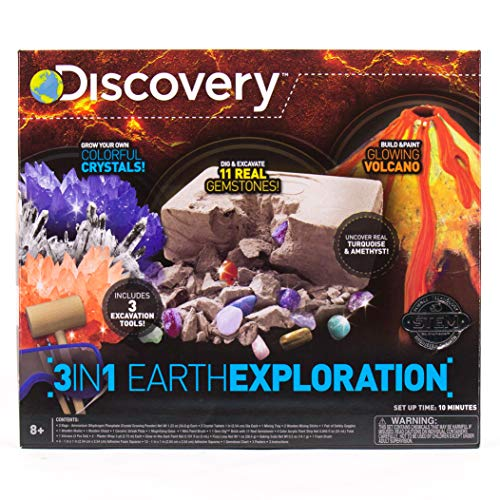 Discovery 3-In-1 Earth Exploration Stem Science Kit by Horizon Group Usa, Grow Colorful Crystals, Excavate & Dig 11 Real Gemstones, Build & Color Your Own Glowing Volcano