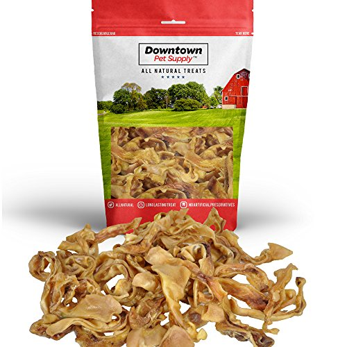Downtown Pet Supply Pig Ear Strips for Dogs, 100% Natural Pigs Ears Treats Dental Chews(1/2 LB)