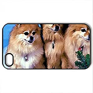3 Pomeranian Dogs - Case Cover for iPhone 5 5s (Dogs Series, Watercolor style, Black)