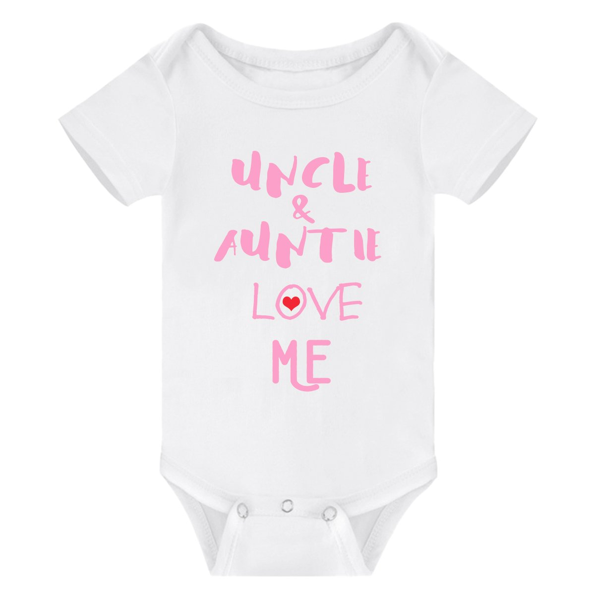 Winzik Newborn Baby Boys Girls Outfits Uncle Auntie Love Me Letters Print Baby Onesie Romper Jumpsuit T-Shirt (3-6 Months, White Pink)