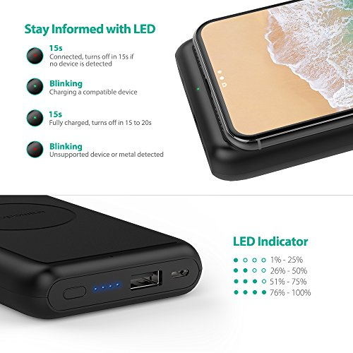 Portable Wireless Charger RAVPower 10000mAh External Wireless Battery Charger 5W Battery Pack for iPhone X, iPhone 8/8 Plus, Qi Wireless Power Bank for S9, S8,Note8 and Qi-Enabled Devices by RAVPower (Image #6)