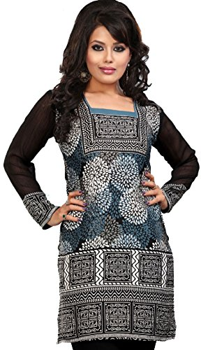 Maple Clothing Indian Tunics Kurti Top Blouse Womens Printed India Apparel (Blue, - India Clothing Blouse