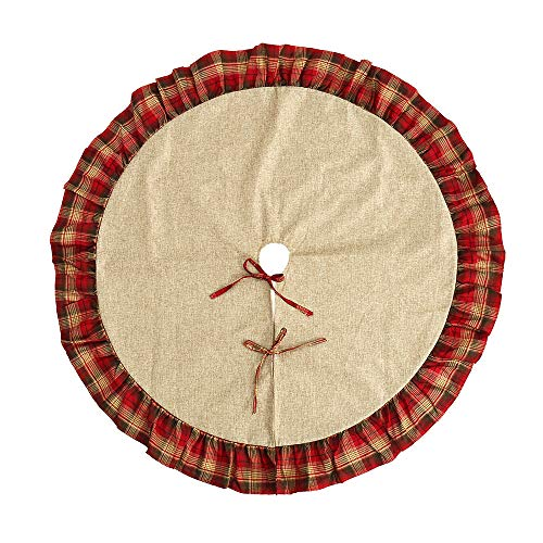 BullStar 48 Inch Christmas Tree Skirt Burlap Tree Skirt Red Plaid for Christmas Decorations Xmas Year Party Indoor Outdoor (48 inch, Plaid)